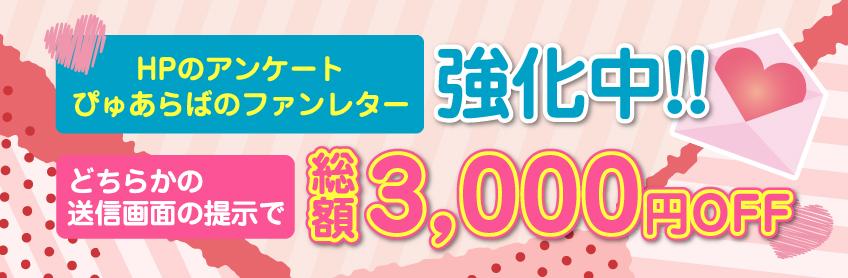 総額3,000円off